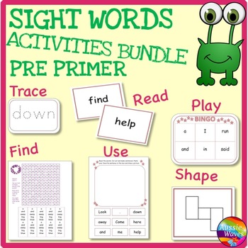 SIGHT WORDS  Activities BUNDLE PRE-PRIMER Level Games, Act