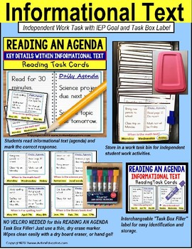 """READING AN AGENDA Informational Text TASK CARDS For Autism """"Task Box Filler"""""""