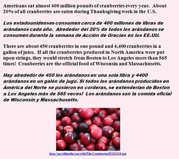 READING AND WRITING ABOUT CRANBERRIES! (CCSS, ENG, SPAN, THANKSGIVING ETC)