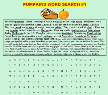 PUMPKINS: READING AND WRITING ABOUT PUMPKINS! (CCSS, FUN, ESL, SPANISH)