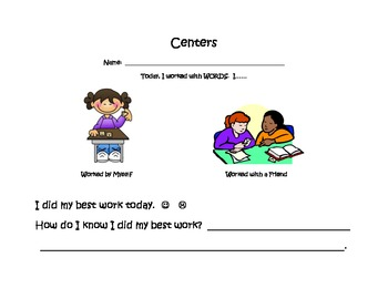 READING AND WRITING CENTERS Reflection Sheet