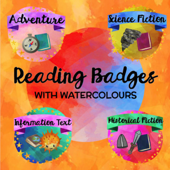 READING BADGES (in watercolour) to encourage independent reading