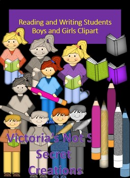 READING BOYS AND GIRL STUDENTS, BOOKS, PENCILS, CLIPART
