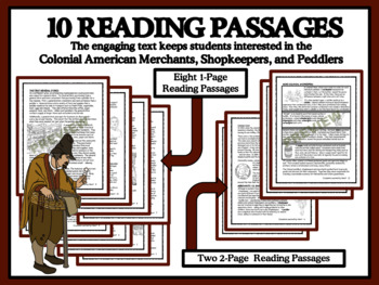 READING COMPREHENSION BUNDLE -  Colonial Merchants, Shopkeepers and Peddlers