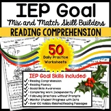 "READING COMPREHENSION IEP Skill Builder December ""Wh"" Questions WORKSHEETS"