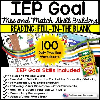 Reading Comprehension Iep Skill Builder Fill In The Blank Worksheets