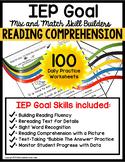 READING COMPREHENSION IEP Goal Skill Builder WORKSHEETS fo