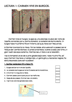 SPANISH READING: CARMEN VIVE EN BURGOS