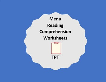 Reading menus- reading comprehension packets