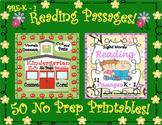 READING COMPREHENSION PASSAGES AND QUESTIONS + 50 NO PREP PRINTABLES  PREK - 1