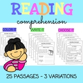 NO PREP Reading Comprehension Passages WITH Questions / K - 1st