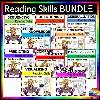 READING COMPREHENSION SKILLS BUNDLE 10 Skills Anchor Charts 240 Task Cards