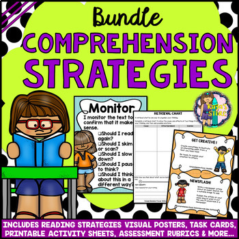 READING COMPREHENSION STRATEGIES BUNDLE: Posters Task Cards ...