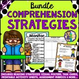 READING COMPREHENSION STRATEGIES BUNDLE: Posters Task Cards Worksheets Rubrics