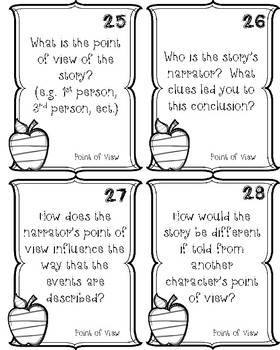 READING COMPREHENSION TASK CARDS FOR ANY FICTION STORY- GRADES 4-8