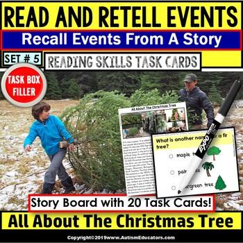 READING COMPREHENSION Task Cards Read/Retell Details CHRISTMAS Task Box Filler