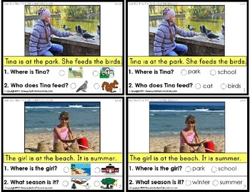 """READING COMPREHENSION Task Cards with Pictures """"Task Box Filler"""" for Autism"""