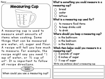 READING COMPREHENSION USING HOUSEHOLD ITEMS