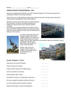 SPANISH  READING: THE CITY  OF  VIGO, SPAIN