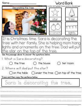 READING COMPREHENSION WITH VISUALS- WINTER