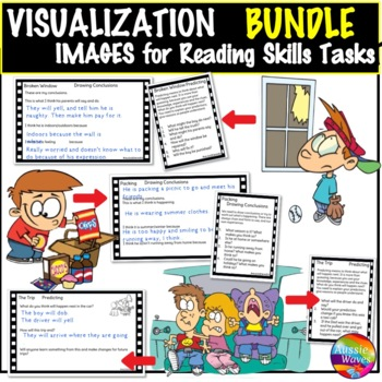 Visualization Task Cards BUNDLE Reading & Thinking Skills using Images Inference