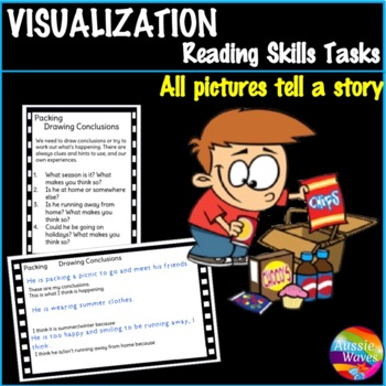 VISUALIZING Task Cards Thinking and Reading Skills Literacy Centers PACKING