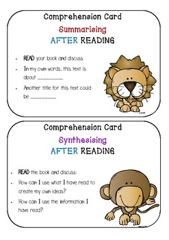 READING Comprehension Cards - Links to Sheena Cameron