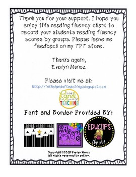 READING FLUENCY RECORDING CHART **EDITABLE**