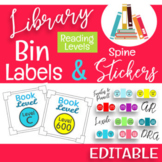 READING LEVEL Library Bin Labels & Spine Stickers -EDITABLE-