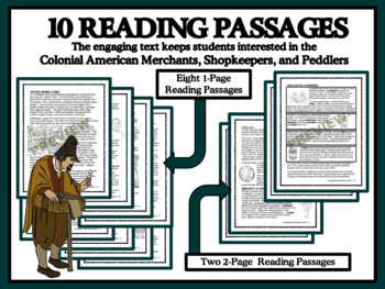 READING PASSAGES AND BINGO - Colonial American Merchants and Shopkeepers