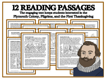 READING PASSAGES AND BINGO - Plymouth Pilgrims and the First Thanksgiving