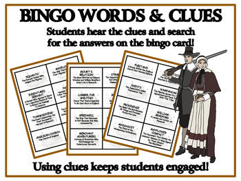 READING PASSAGES AND BINGO- Plymouth Pilgrims and the First Thanksgiving