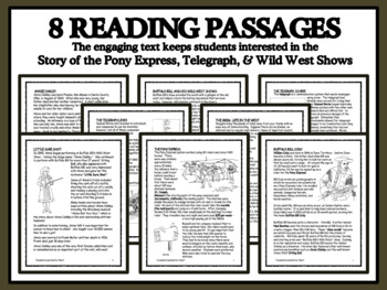 READING PASSAGES AND BINGO - Pony Express, The Telegraph and Wild West Shows