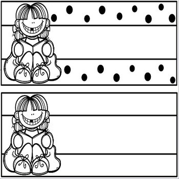 Reading and ELA Headers Polka Dot Black and White with Desk Plates