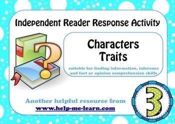 READING: READER RESPONSE - CHARACTER TRAITS 3
