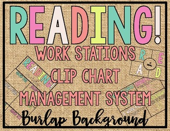 - BURLAP - READING! READERS! READ! Workstation Clip Chart Management System