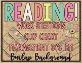 - BURLAP - READING! READERS! READ! Workstation Clip Chart