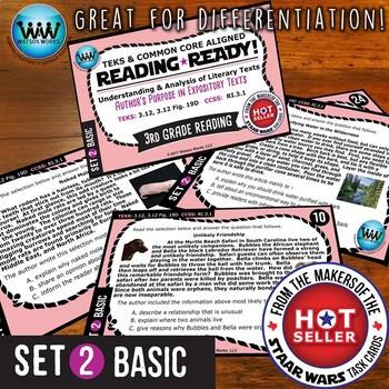 READING READY 3rd Grade Task Cards - Author's Purpose ~ BASIC SET 2