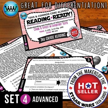 READING READY 3rd Grade Task Cards – Cause & Effect ~ ADVANCED SET 4