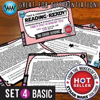 READING READY 3rd Grade Task Cards – Cause & Effect ~ BASIC SET 4 {TEKS-aligned}