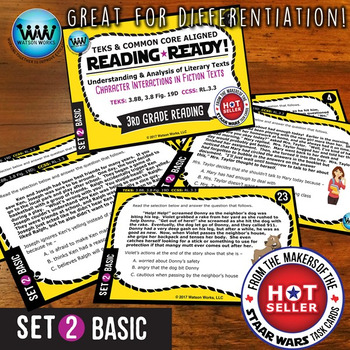 READING READY 3rd Grade Task Cards - Character Interactions ~ BASIC SET 2