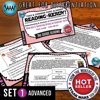 READING READY 3rd Grade Task Cards: Main Idea & Supporting Details ~ ADVANCED 1
