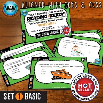 READING READY 3rd Grade Task Cards -  Prefixes & Suffixes ~ BASIC SET 1