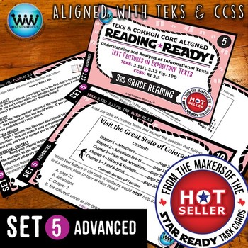 READING READY 3rd Grade Task Cards: Text Features in Expository Texts~ADVANCED 5