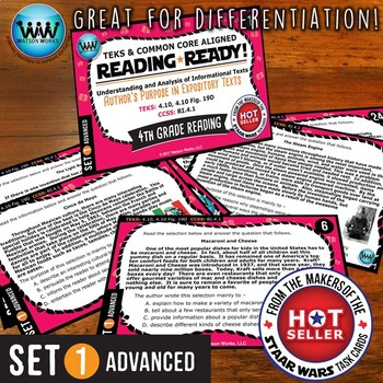 READING READY 4th Grade – Author's Purpose in Expository Texts ~ ADVANCED SET 1