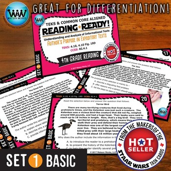READING READY 4th Grade  – Author's Purpose in Expository Texts ~ BASIC SET 1