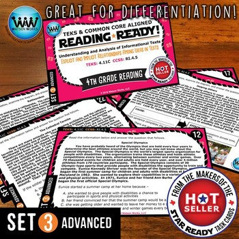 READING READY 4th Grade – Explicit & Implicit Relationships ~ ADVANCED SET 3