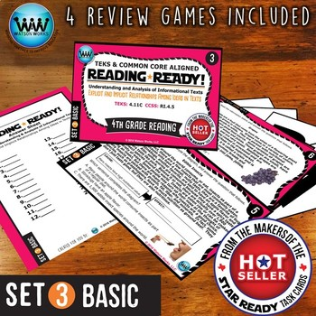 READING READY 4th Grade Task Cards: Explicit/Implicit Relationships~BASIC SET 3