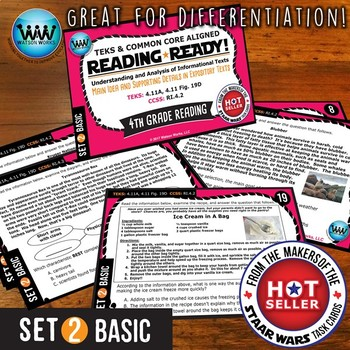 READING READY 4th Grade Task Cards– Main Idea & Supporting Details ~ BASIC SET 2