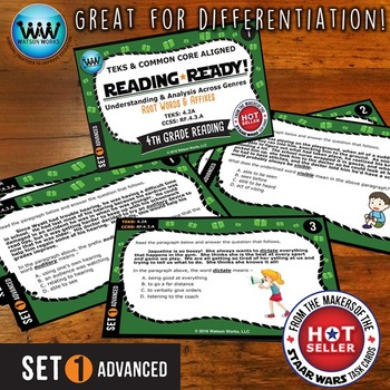 READING READY 4th Grade Task Cards - Root Words & Affixes ~ ADVANCED SET 1